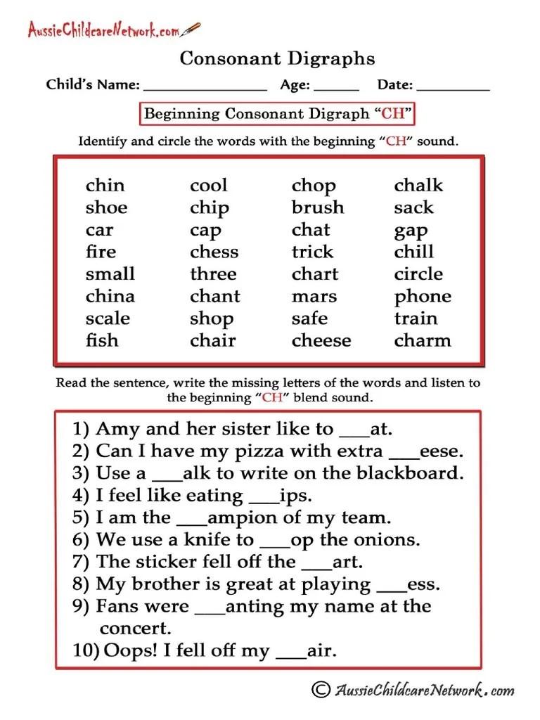 medium resolution of Consonant Digraphs Worksheets Beginning Ch
