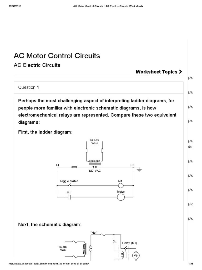 ac motor control circuits ac electric circuits worksheets switch relay [ 768 x 1024 Pixel ]