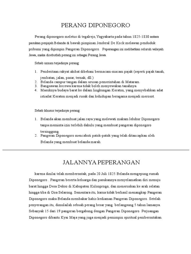 Sebab Umum Dan Khusus Perang Diponegoro : sebab, khusus, perang, diponegoro, Sejarah