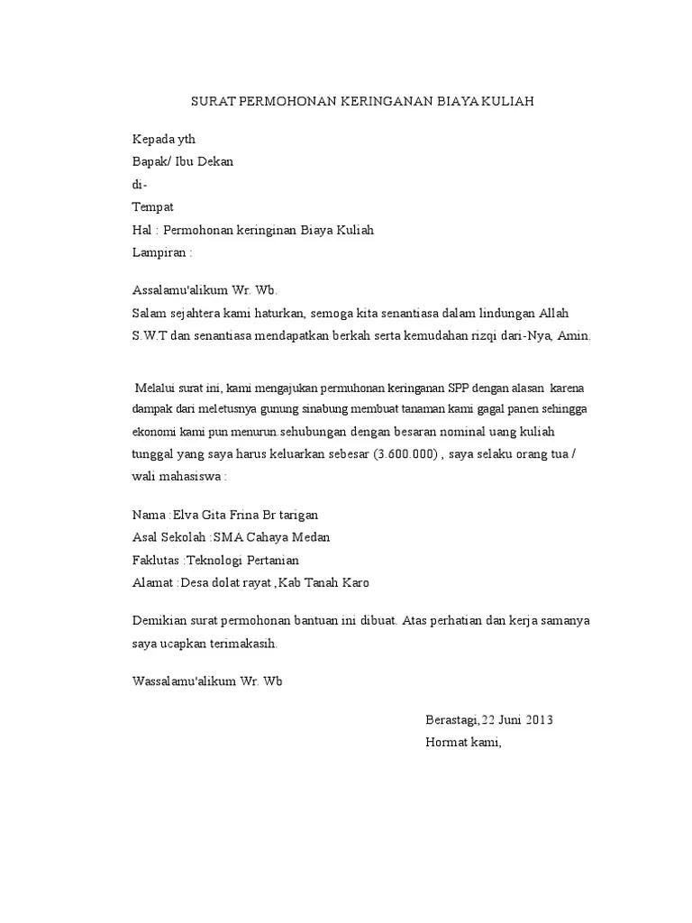 Surat Permohonan Keringanan Biaya Sekolah : surat, permohonan, keringanan, biaya, sekolah, Contoh, Surat, Permohonan, Keringanan, Biaya, Sekolah, Berbagi