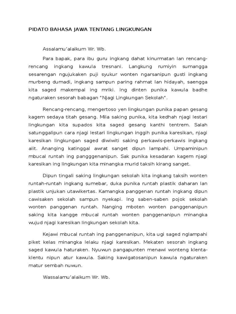 Contoh Teks Pidato Bahasa Jawa : contoh, pidato, bahasa, Naskah, Pidato, Bahasa, Dengan, Kebersihan, Cute766