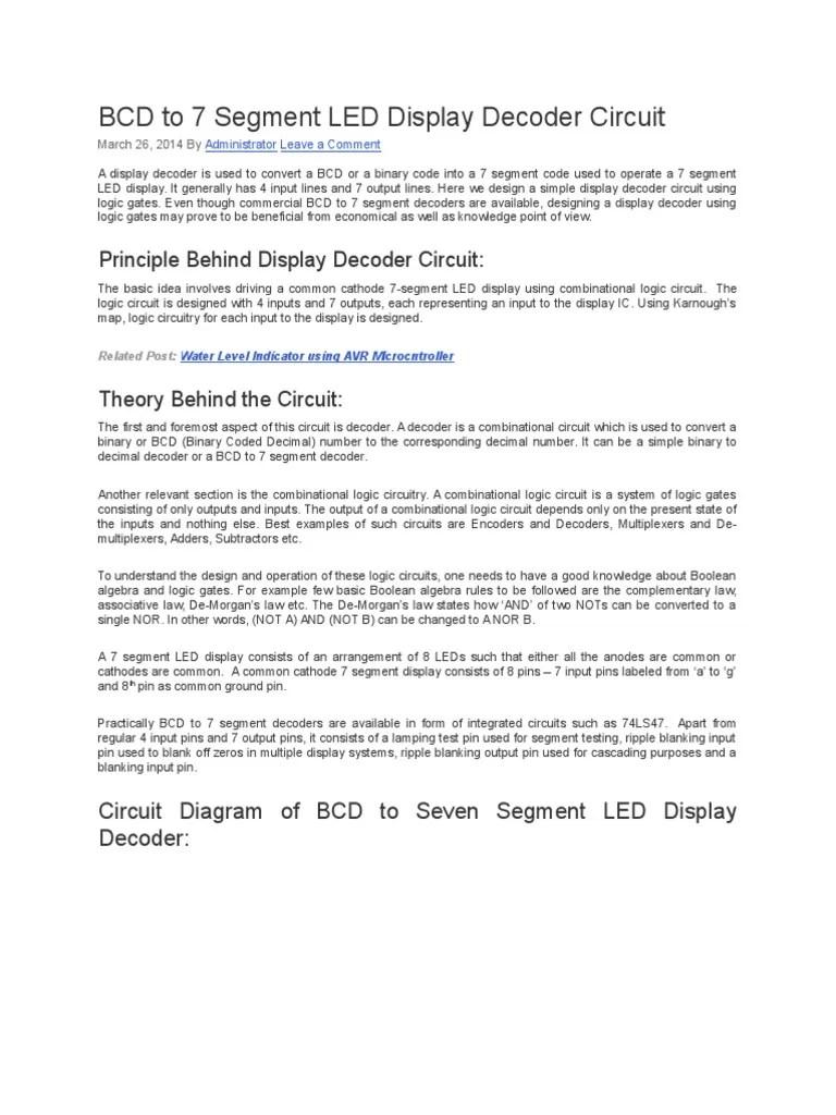 bcd to 7 segment led display decoder circuit electronic circuits electronics [ 768 x 1024 Pixel ]