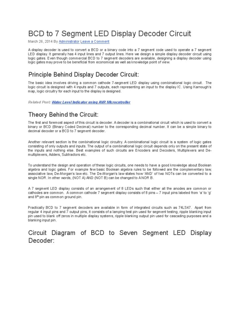 small resolution of bcd to 7 segment led display decoder circuit electronic circuits electronics