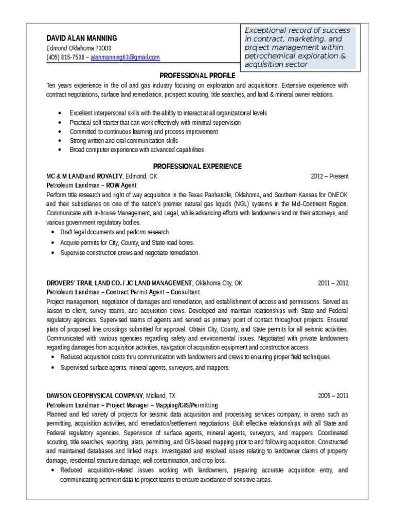 oil and gas landman resume examples