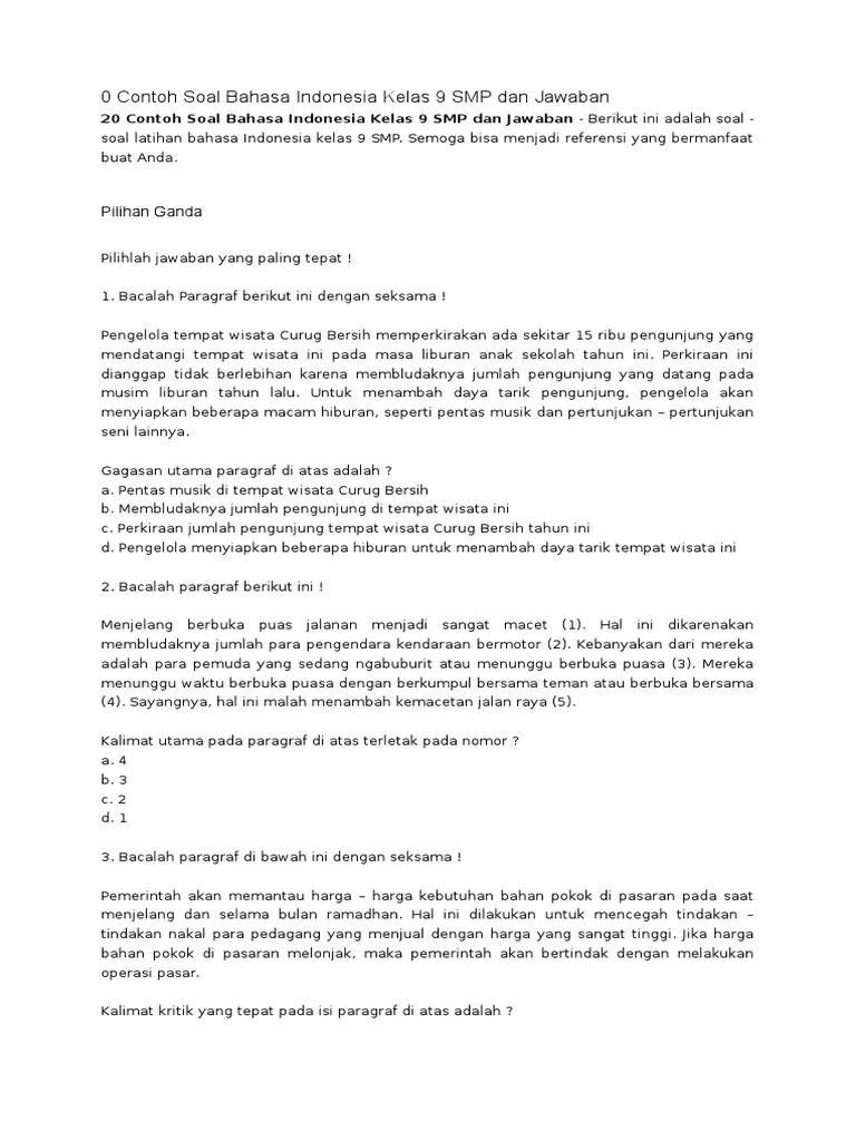 Soal Bahasa Indonesia Kelas 9 Semester 2 Dan Kunci Jawaban Kurikulum 2013 : bahasa, indonesia, kelas, semester, kunci, jawaban, kurikulum, Contoh, Bahasa, Indonesia, Kelas, Kumpulan