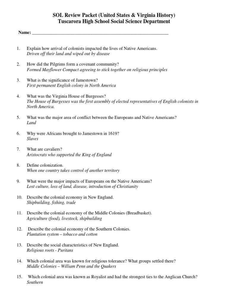 THS VA And US History SOL Review Packet Answers 1