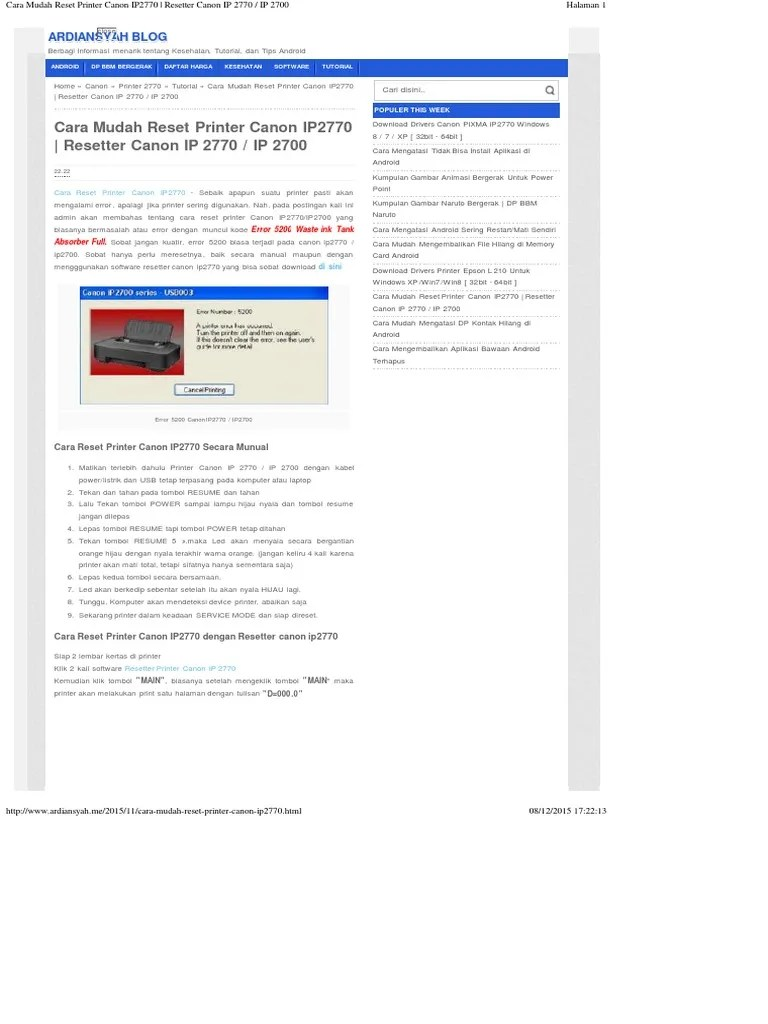 Resetter Canon Ip2770 V3400 : resetter, canon, ip2770, v3400, Reset, Printer, Canon