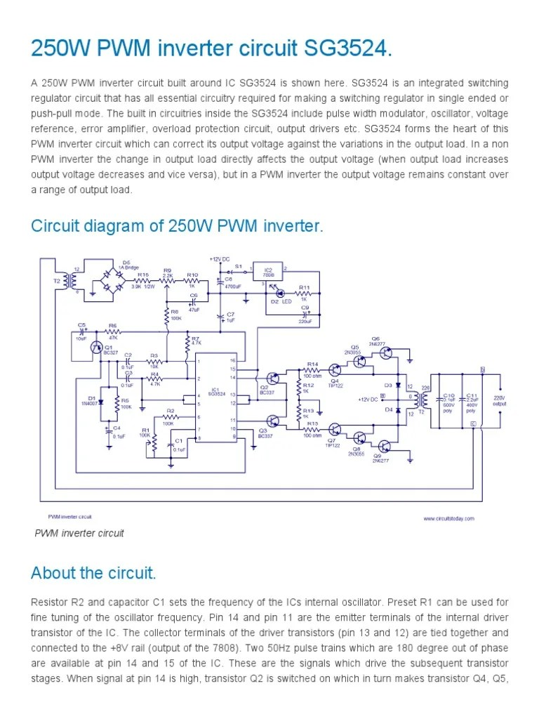 hight resolution of pwm inverter circuit based on sg3524 12v input 220v output 250w power inverter electronic circuits
