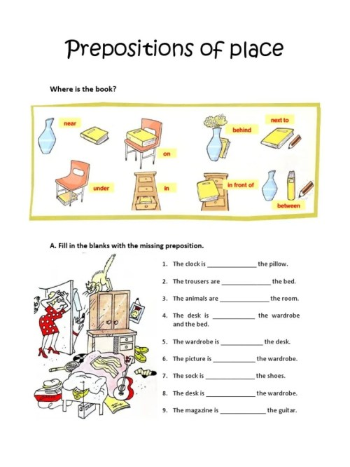 small resolution of Preposition Worksheets 2nd Grade
