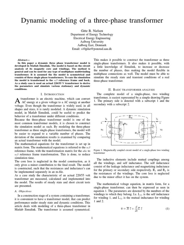 hight resolution of article dynamic modeling of three phase transformer transformer inductance