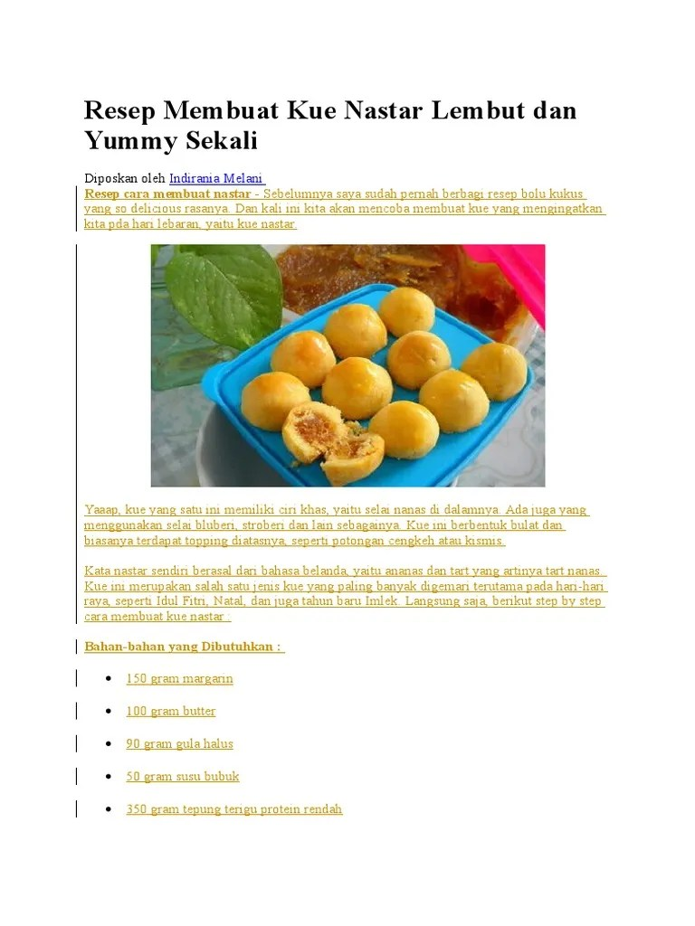 Bahan Bahan Kue Nastar Dan Cara Buatnya : bahan, nastar, buatnya, Resep, Membuat, Nastar, Lembut, Yummy, Sekali.docx