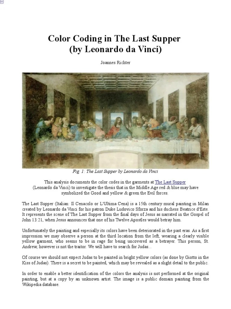 The Last Supper Painting Secrets : supper, painting, secrets, Color, Coding, Supper, Leonardo, Vinci), Clothing, Paintings