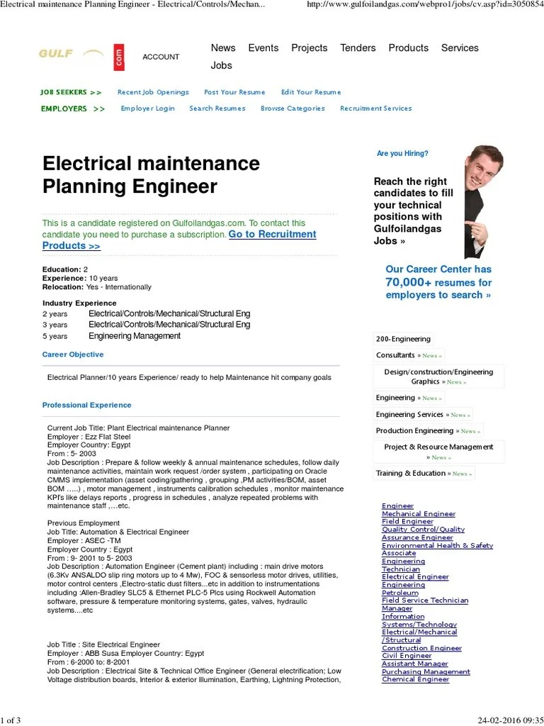 medium resolution of electrical maintenance planning engineer electrical controls mechanical structural eng at gulf oil gas petroleum natural gas
