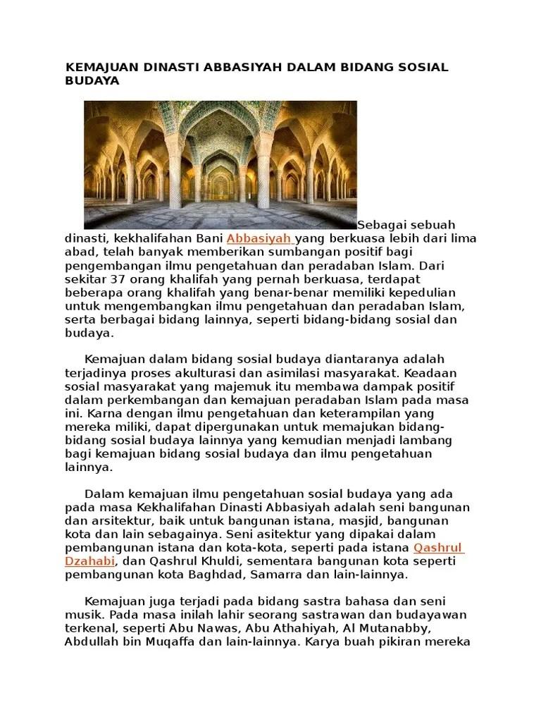 Kemajuan Bani Abbasiyah : kemajuan, abbasiyah, KEMAJUAN, DINASTI, ABBASIYAH, DALAM, BIDANG, SOSIAL, BUDAYA.docx
