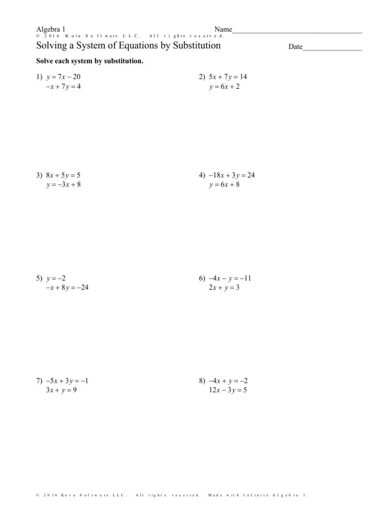 small resolution of solving a system of equations by substitution worksheet special cases    Equations   Mathematical Objects
