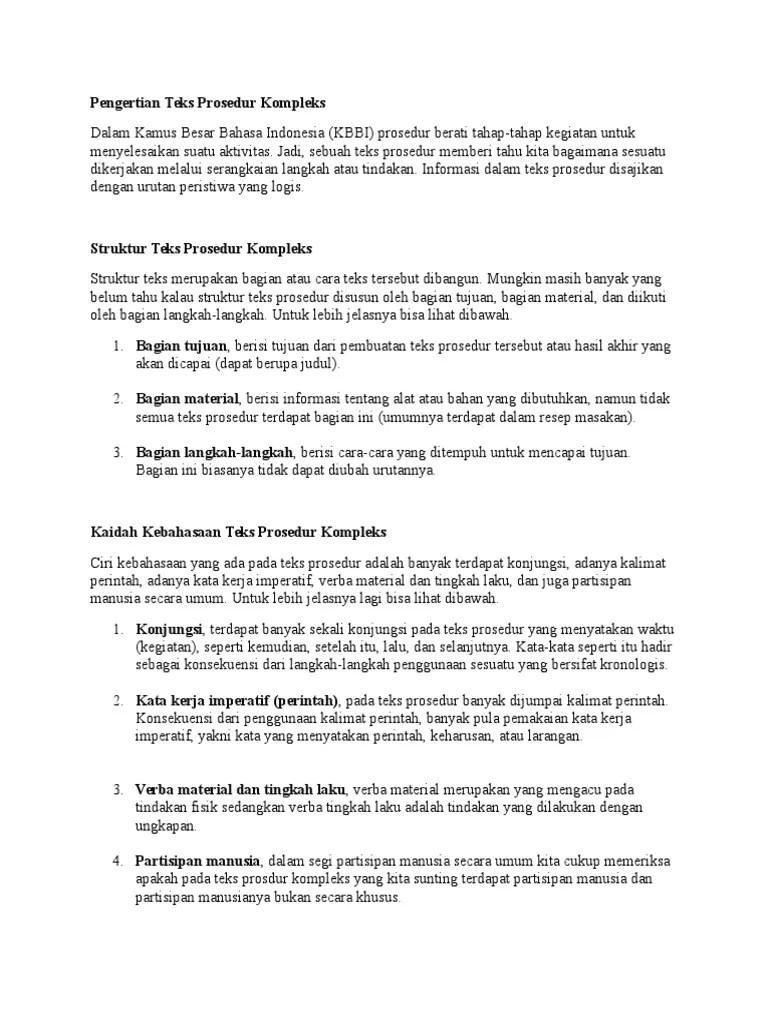 Kalimat Perintah Dalam Teks Prosedur : kalimat, perintah, dalam, prosedur, Pengertian, Prosedur, Kompleks