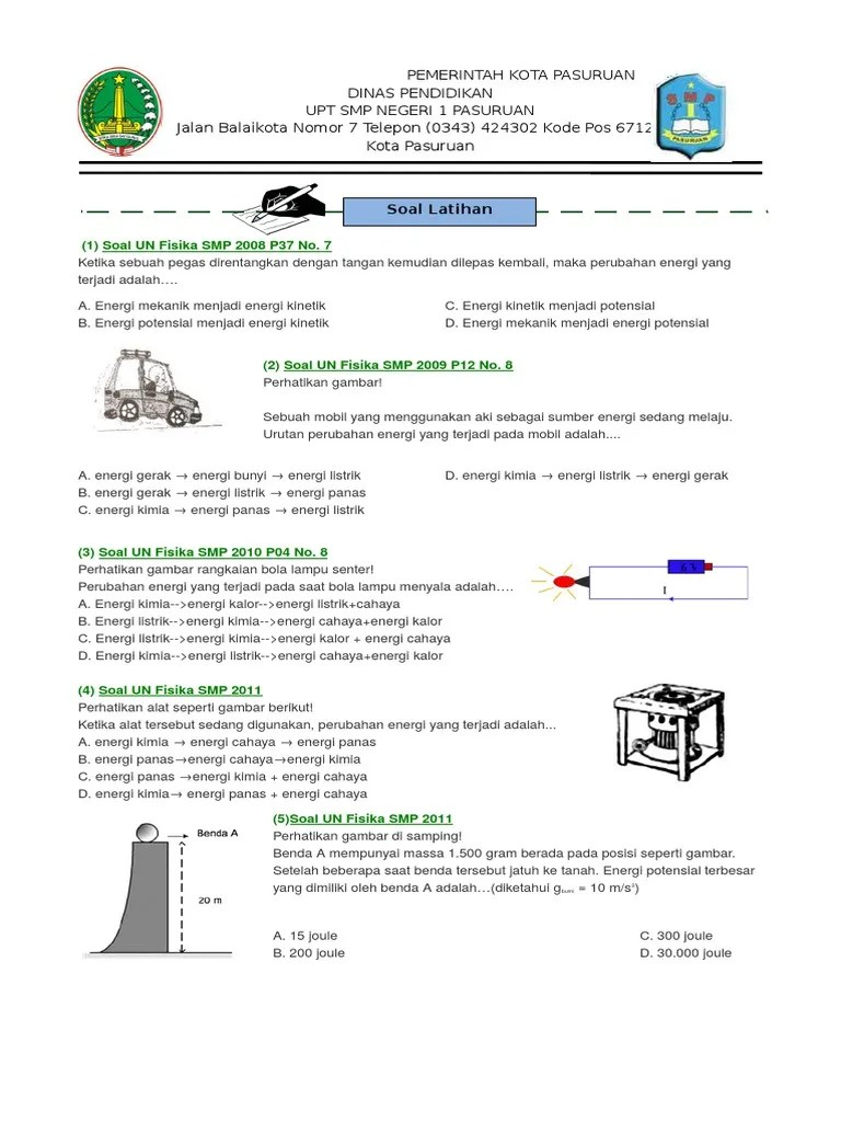 Soal Energi Kinetik : energi, kinetik, Kelas, Energi, Kinetik, Potensial