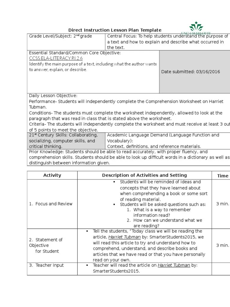read lesson plan on harriet tubman 2nd grade and reflection   Underground  Railroad   Reading Comprehension [ 1024 x 768 Pixel ]