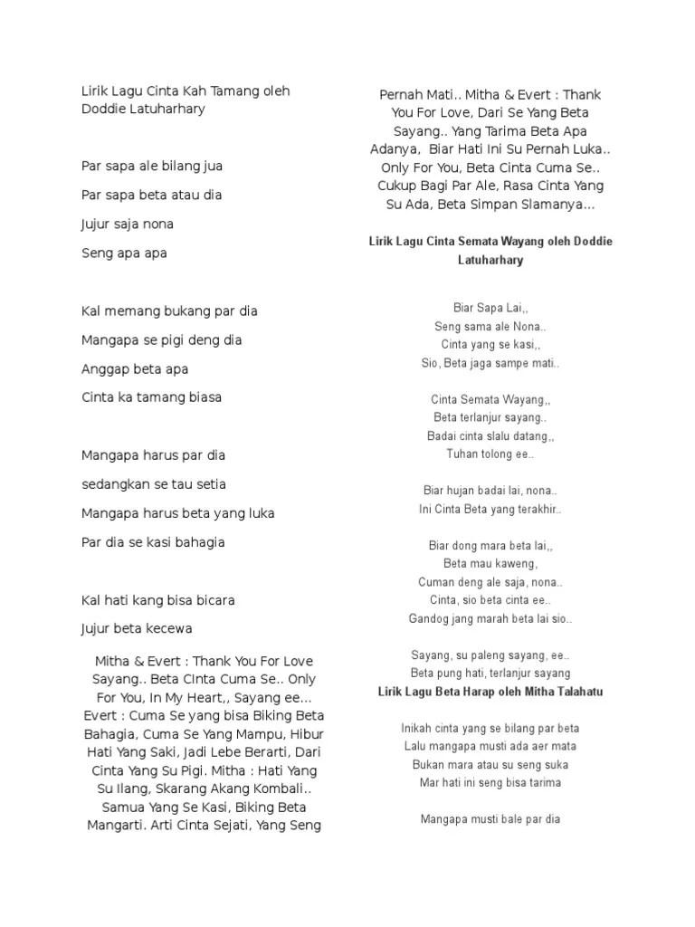 Lirik Se Paleng Bae : lirik, paleng, Lirik, Cinta, Tamang, Doddie, Latuharhary