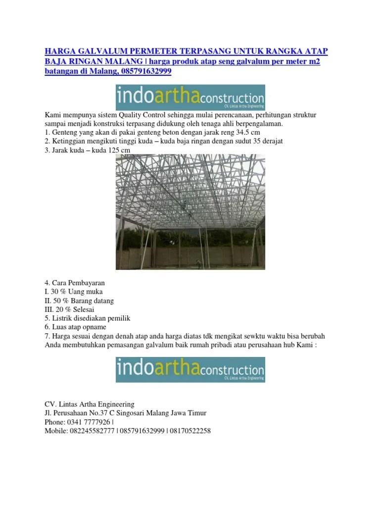 jarak reng baja ringan atap galvalum harga permeter terpasang untuk rangka