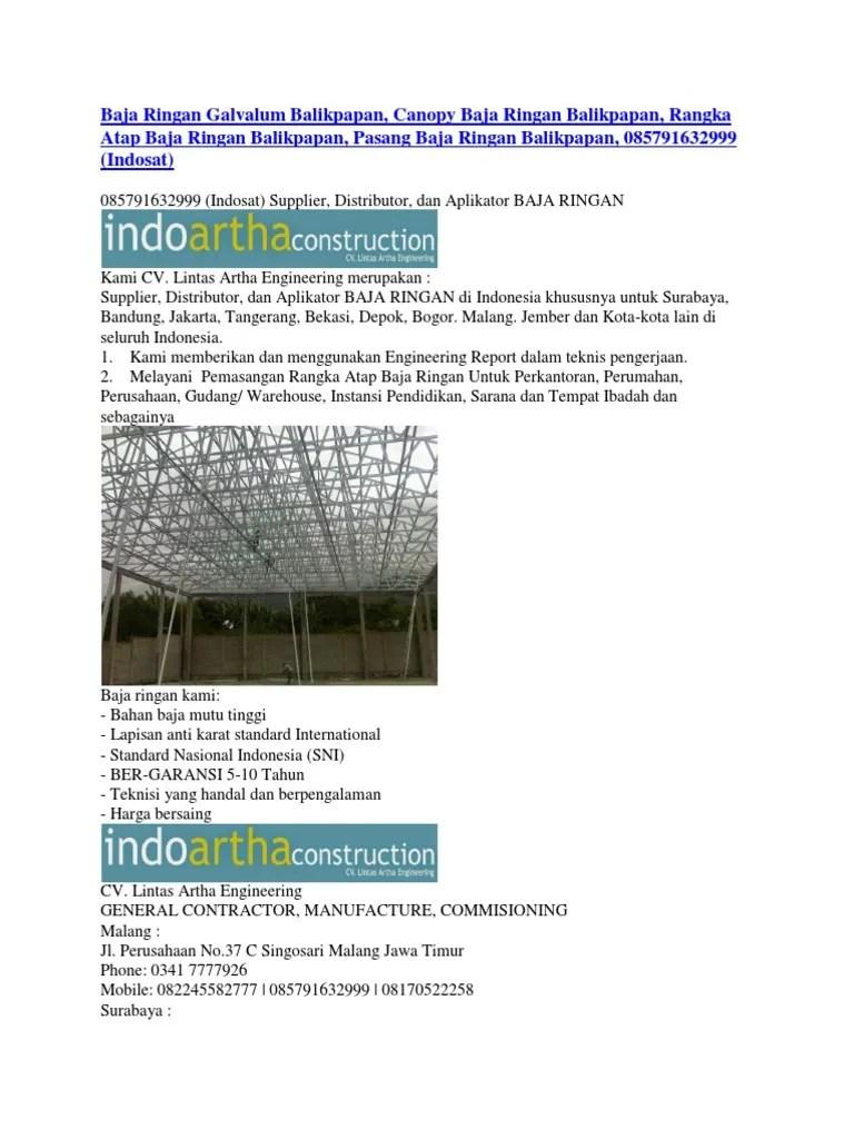 pemasangan atap baja ringan balikpapan galvalum canopy
