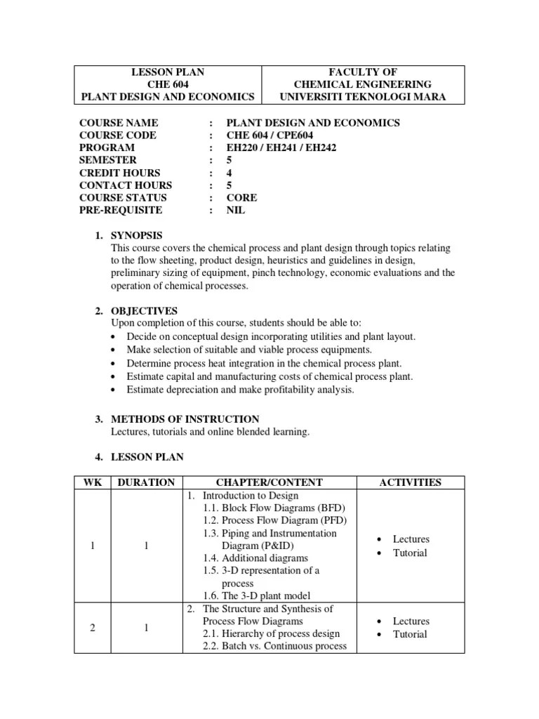 lesson plan che 604 sept 2014 1 plant design chemical reactor capital economics  [ 768 x 1024 Pixel ]