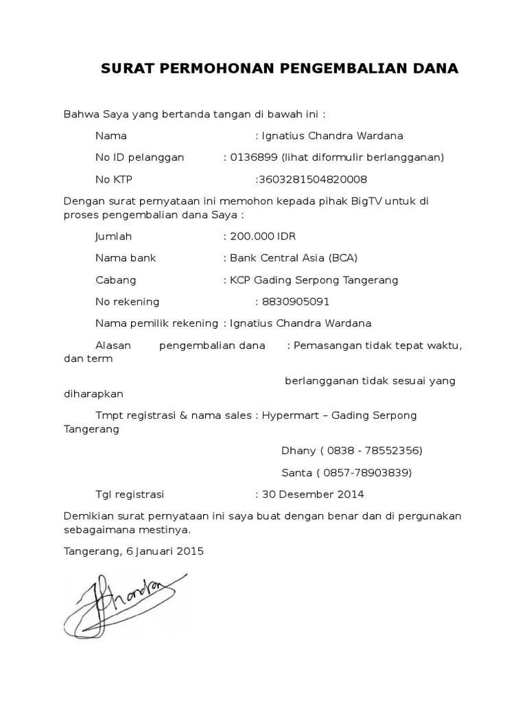 Contoh Surat Permohonan Pengembalian Kelebihan Transfer : contoh, surat, permohonan, pengembalian, kelebihan, transfer, Contoh, Surat, Pernyataan, Refund, Cute766