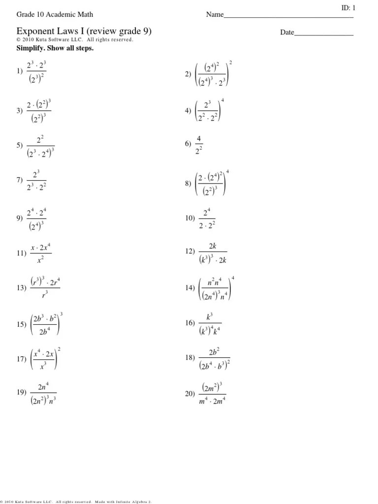 small resolution of exponent laws i review grade 9   Accounting