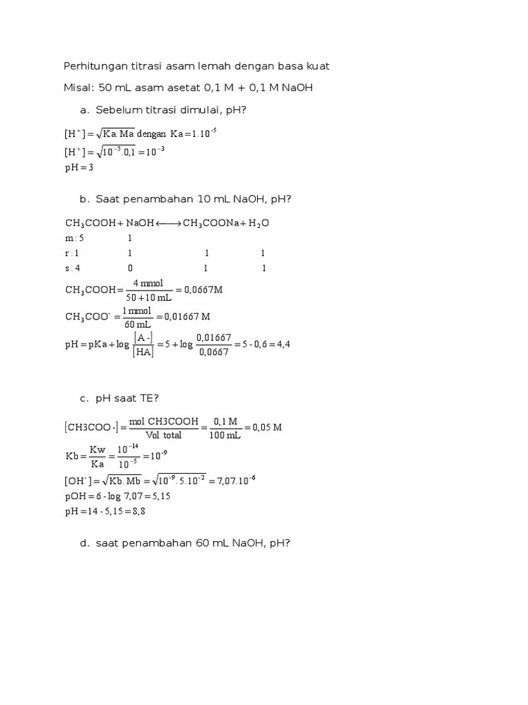 Rumus Titrasi Asam Basa : rumus, titrasi, Perhitungan, Titrasi, Lemah, Dengan