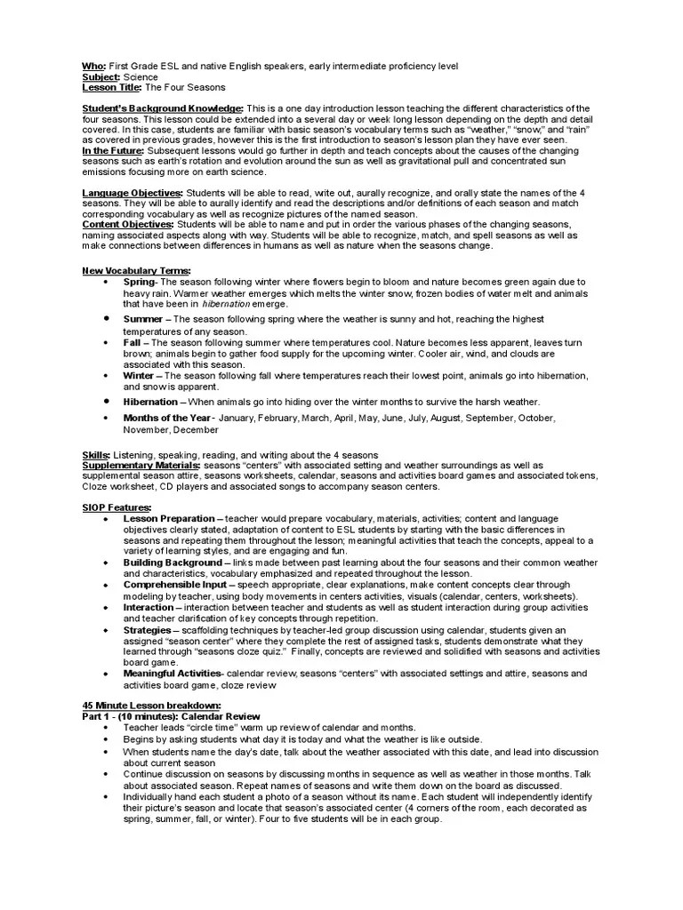 hight resolution of first grade science seasons lesson   Lesson Plan   Curriculum