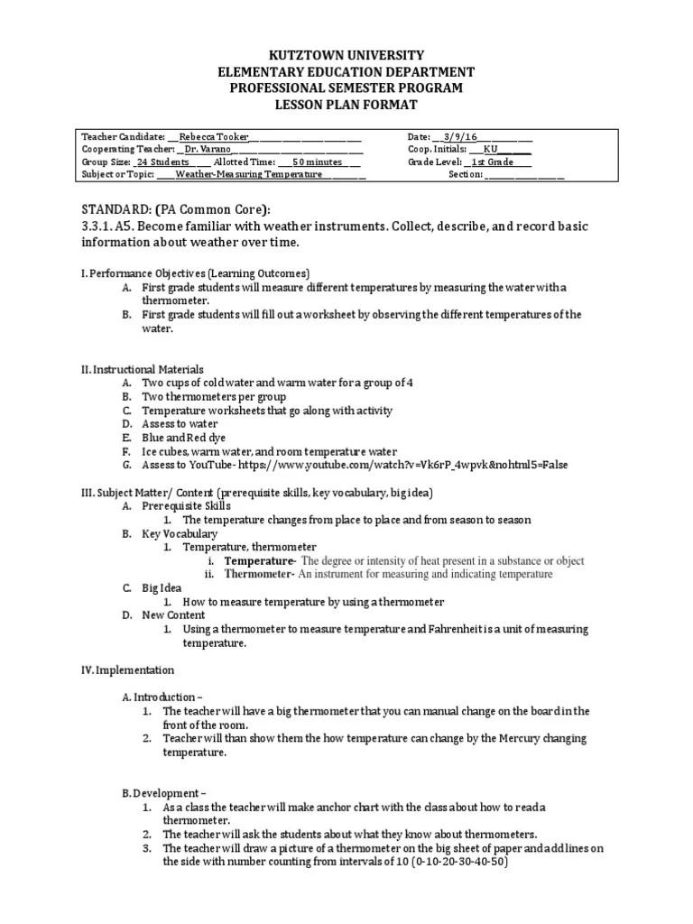 small resolution of ku lesson plan measuring temperature pdf   Thermometer   Temperature