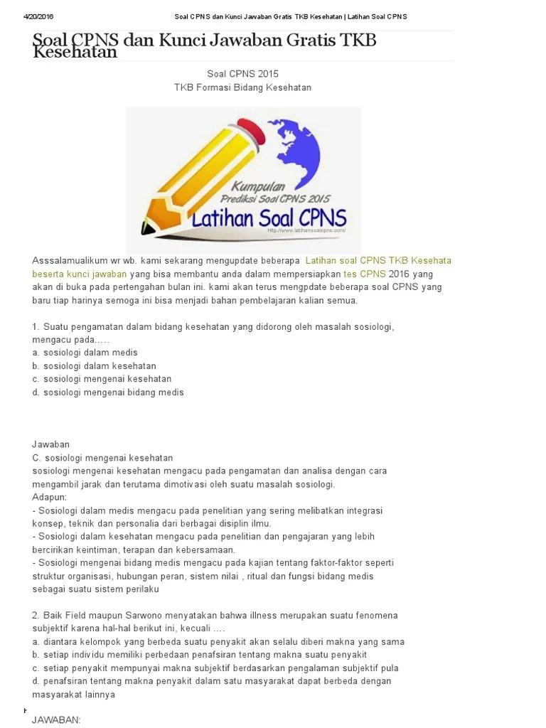 Download Soal Cpns 2014 Dan Kunci Jawaban Pdf - IlmuSosial.id