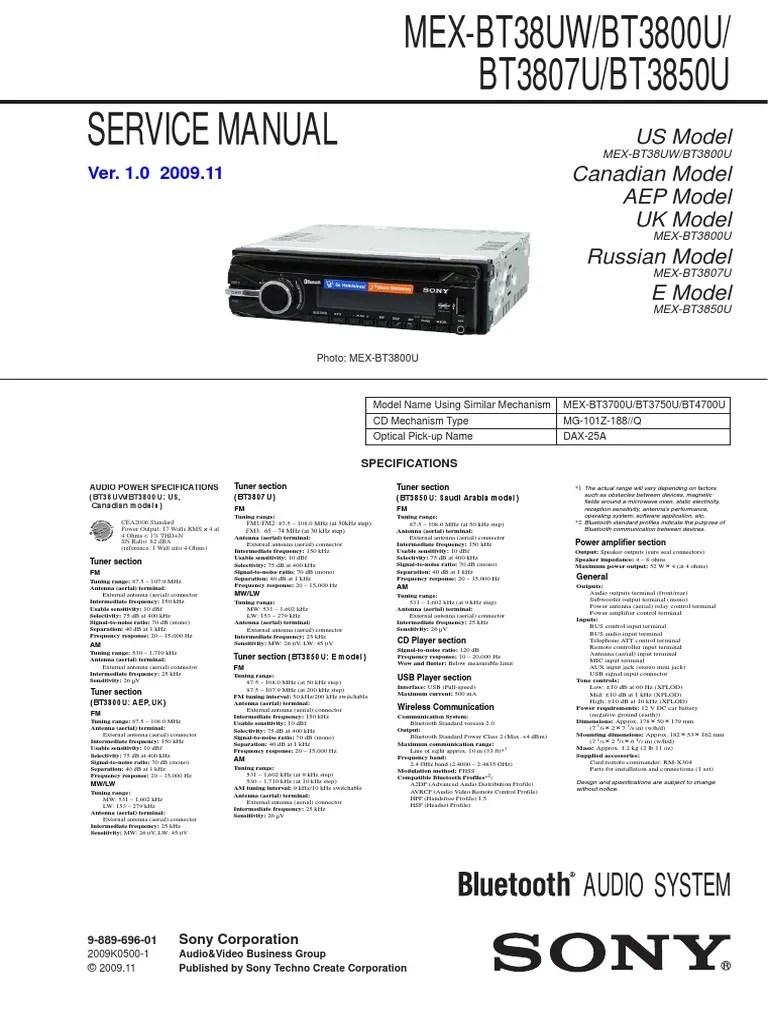 medium resolution of sony mex bt38uw