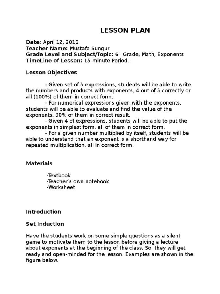 hight resolution of 15-min lesson plan   Exponentiation   Multiplication