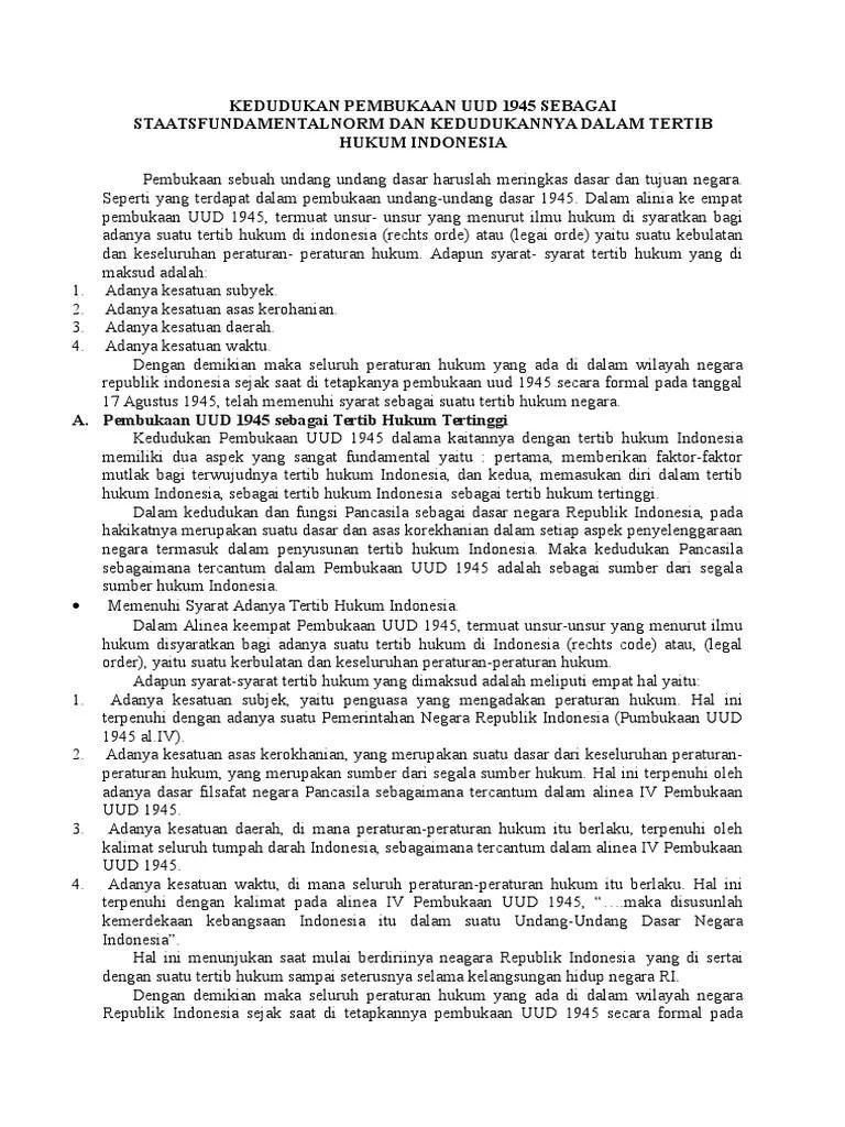 Kedudukan Pembukaan Uud Negara Republik Indonesia Tahun 1945 : kedudukan, pembukaan, negara, republik, indonesia, tahun, Kedudukan, Pembukaan, Sebagai, Staatsfundamentalnorm, Kedudukannya, Dalam, Tertib, Hukum, Indonesia