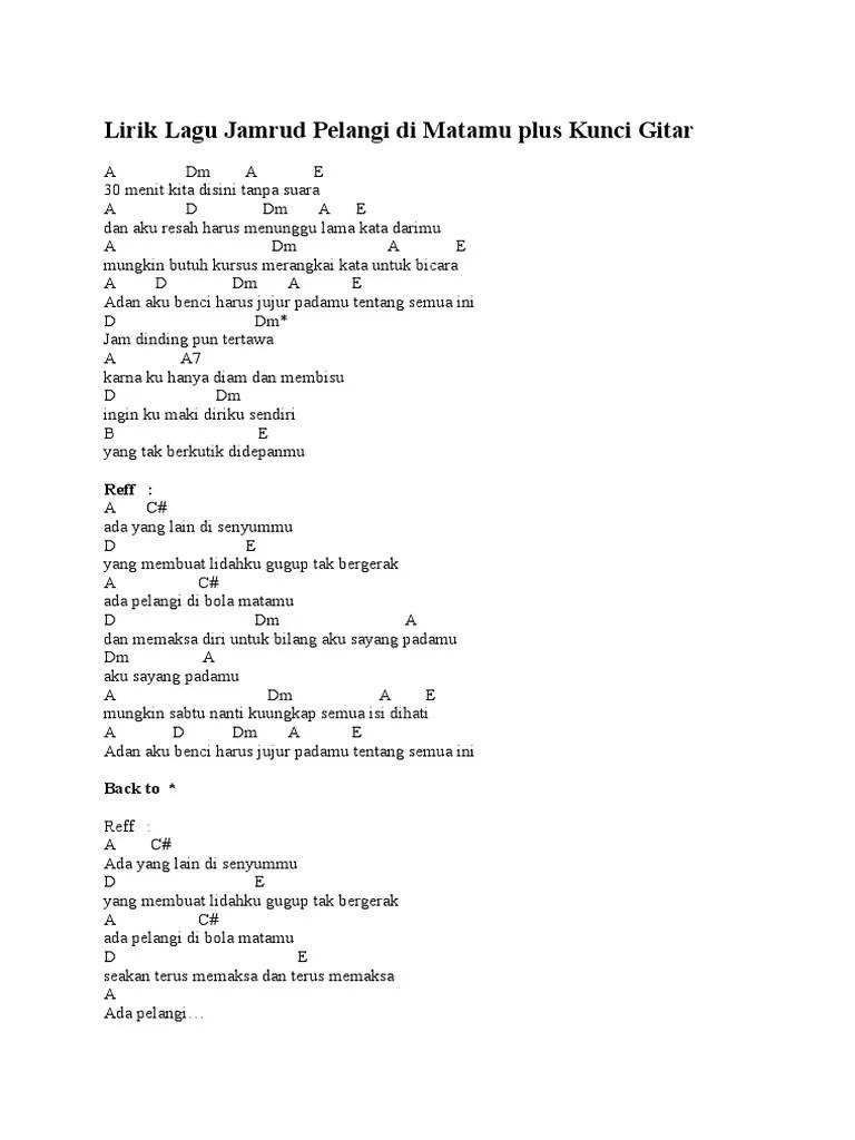 Ada Pelangi Di Bola Matamu Chord : pelangi, matamu, chord, Lirik, Jamrud, Pelangi, Matamu, Kunci, Gitar