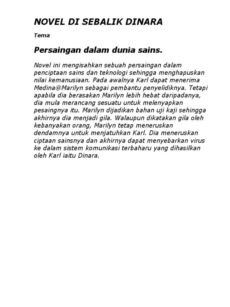 Tema Novel : novel, Contoh, Soalan, Novel, Sebalik, Dinara, Selangor