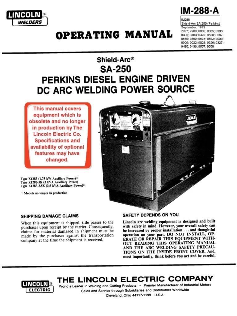 medium resolution of lincoln sa 250 diesel spec
