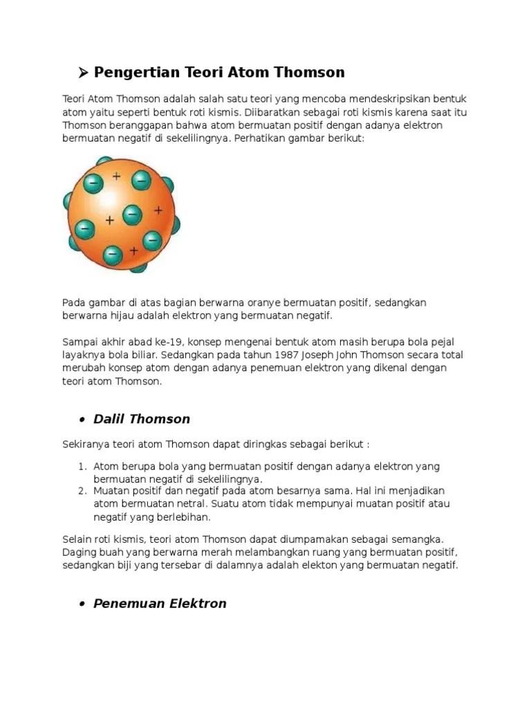 Teori Atom Roti Kismis : teori, kismis, Model
