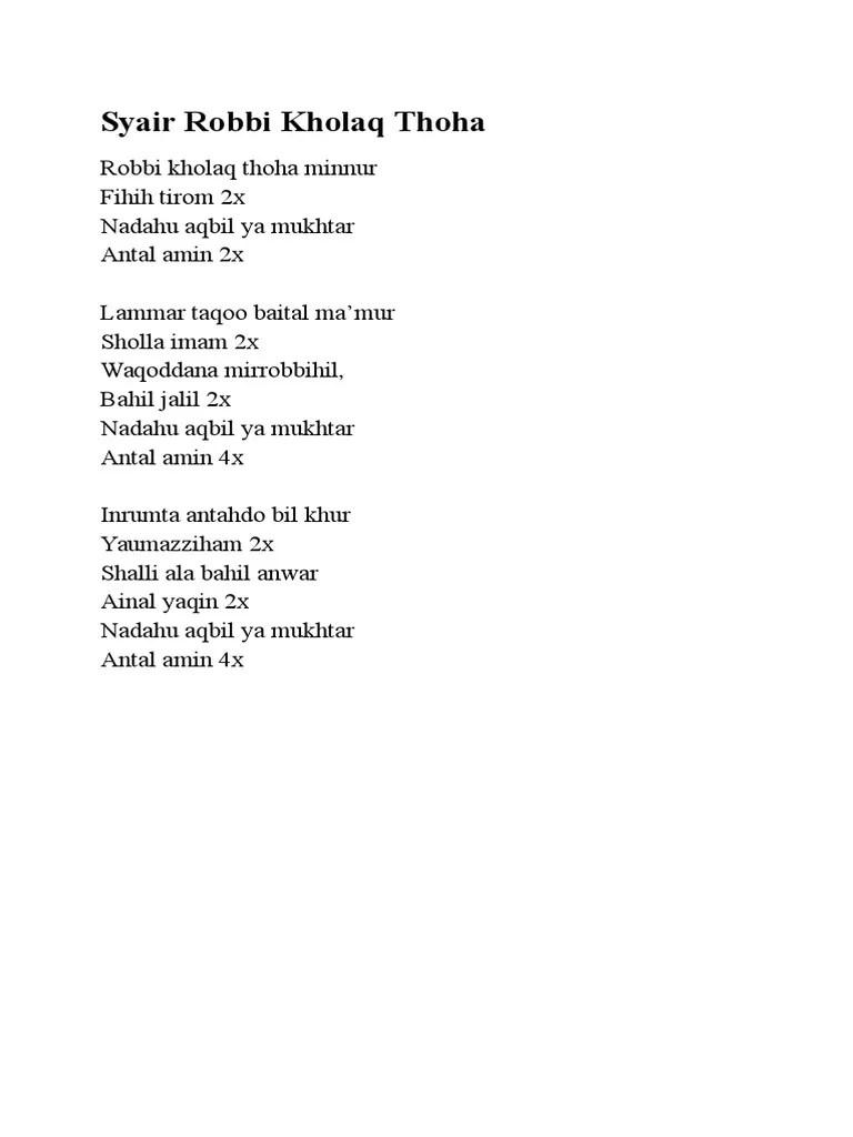 Lirik Robbi Kholaq Thoha Minnur Lengkap (Arab, Latin dan