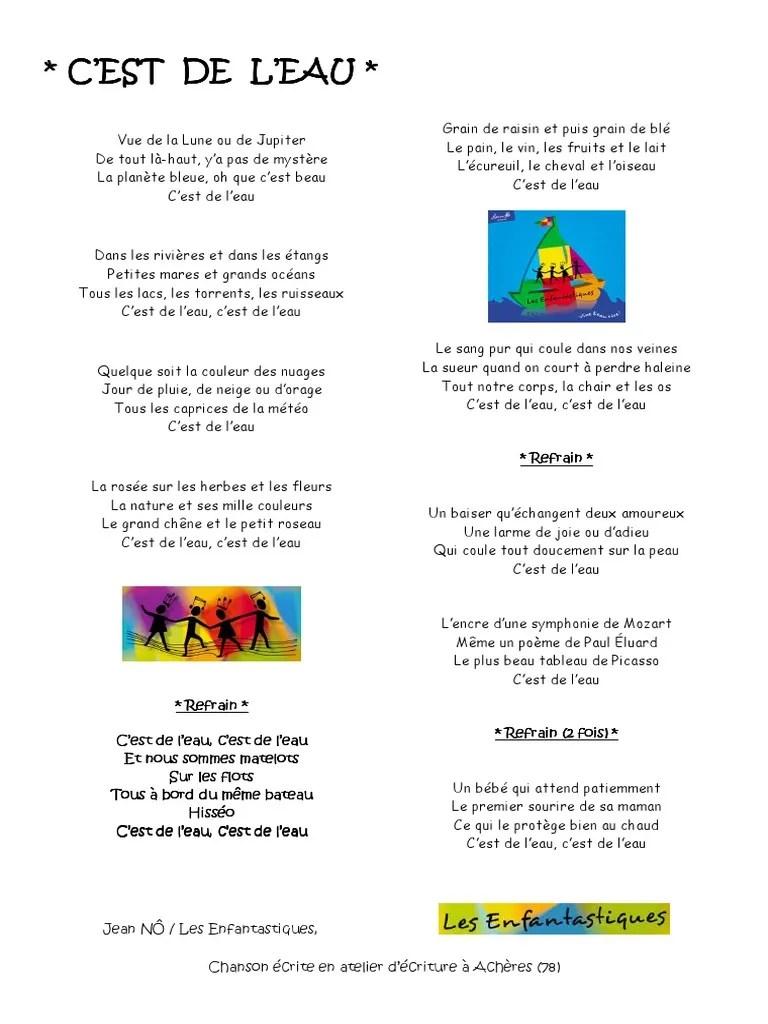 Les Enfantastiques C'est De L'eau : enfantastiques, c'est, l'eau, Paroles, C'Est, L'Eau