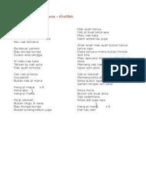 Lirik Lagu Khalifah Hang Pi Mana : lirik, khalifah, Lirik