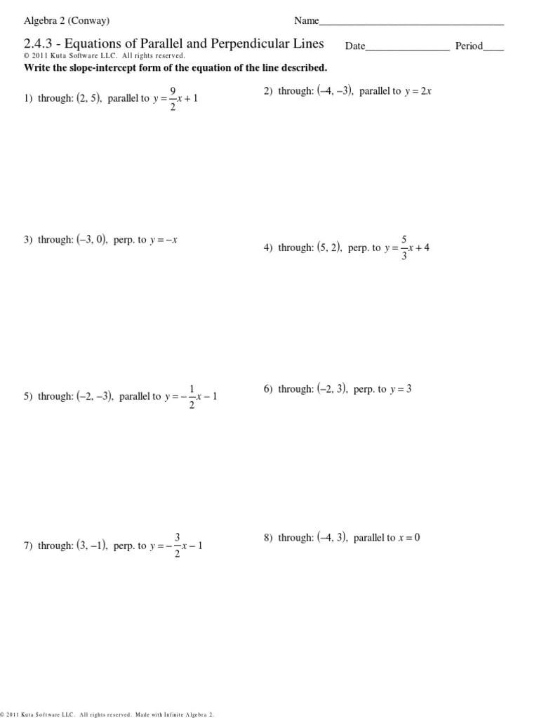 Slopes Of Parallel And Perpendicular Lines Worksheet Answers : slopes, parallel, perpendicular, lines, worksheet, answers, 2.4.3, Equations, Parallel, Perpendicular, Lines