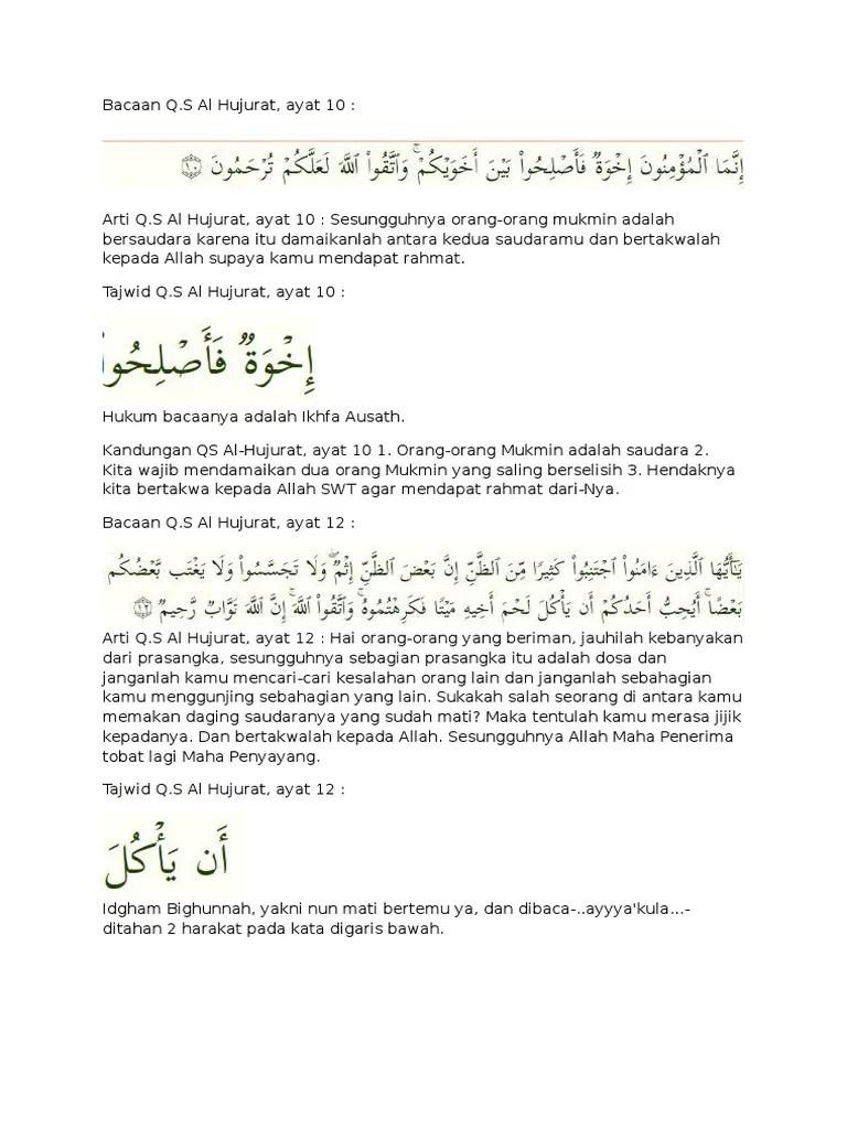Kandungan Qs Al Hujurat Ayat 10 : kandungan, hujurat, Surat, Hujrat, 10,12, Anfal