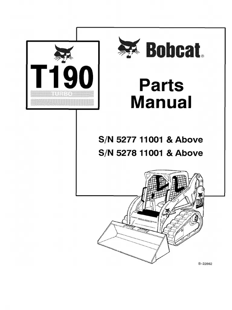 hight resolution of pdf bobcat t190 parts manual sn 527711001 and above sn 527811001 and