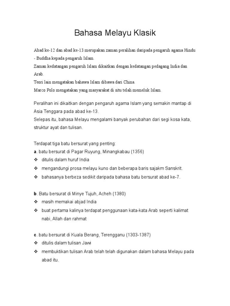 Contoh Bahasa Melayu Klasik : contoh, bahasa, melayu, klasik, Bahasa, Melayu, Klasik