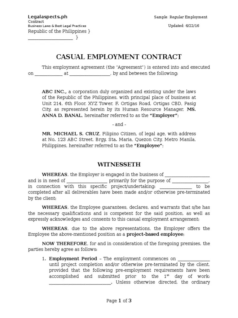 Sample Project Based Employment Contract Legalaspects