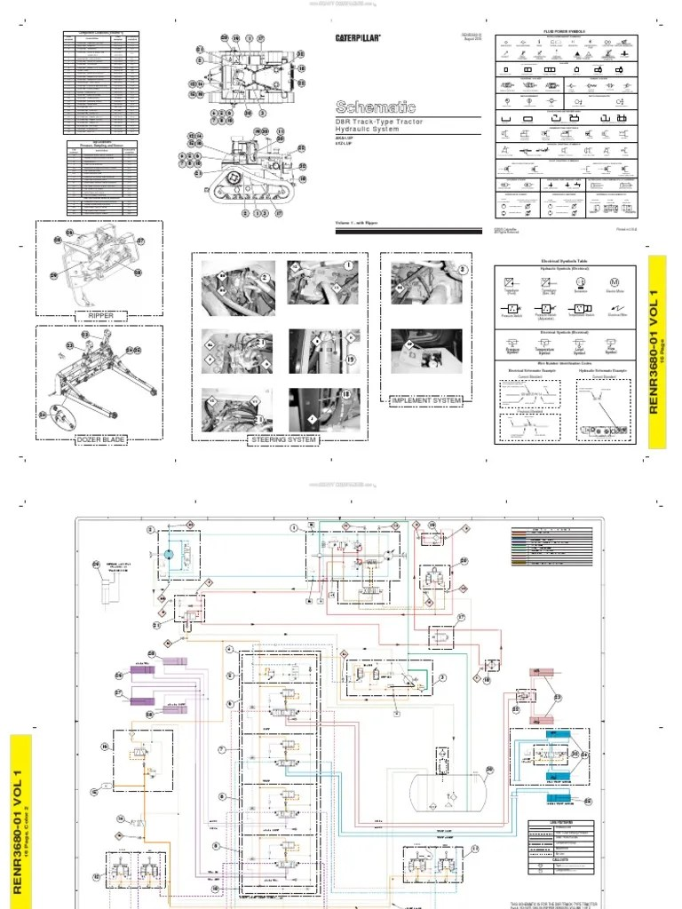 material schematic hydraulic system track type tractors d8r dozer caterpillar pump valve [ 768 x 1024 Pixel ]