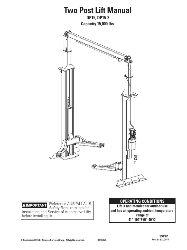 medium resolution of two post car lift schematic