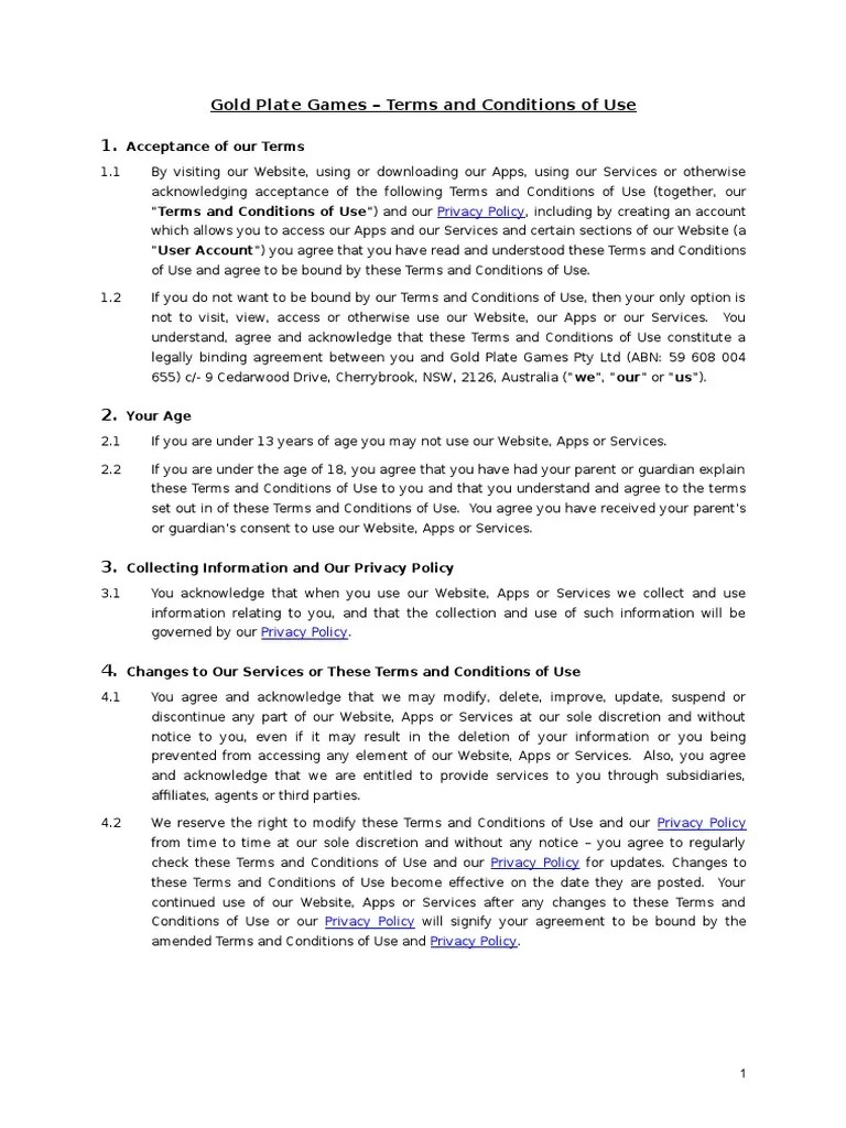 Gold Plate Games Terms And Conditions Of Use V 2 1c